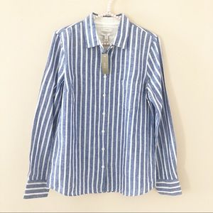 NWT JCrew Women's Striped Linen Boy Shirt